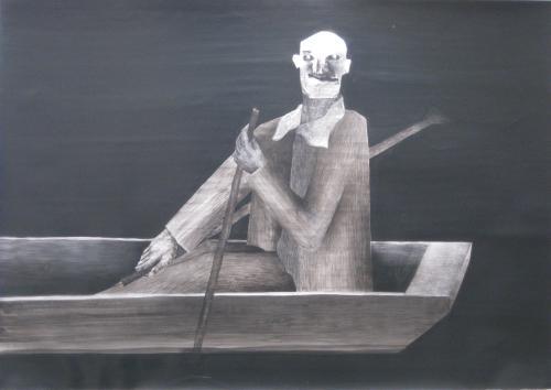 François Malespine Décembre 1977. n°1 «Le passeur». 100cm x 70cm