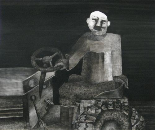 "François Malespine Novembre 1977 ""n°3"" 70cm x 84cm"