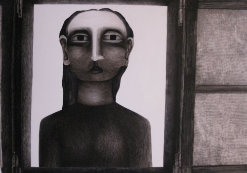 François Malespine encres et lying 1979 dimension 100cm x 71cm