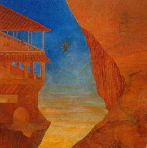 François Malespine août 2011 peinture pratique de l'éveil ordinaire dimension 76cm x 78cm